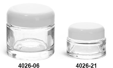 Clear Glass Jars, Clear Glass Thick Wall Cosmetic Jars w/ White Dome F-217 Lined Caps
