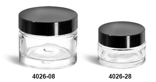 Clear Glass Jars, Clear Glass Thick Wall Cosmetic Jars w/ Black Phenolic F-217 Lined Caps