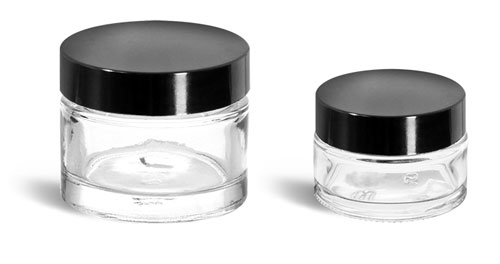 Clear Glass Jars, Clear Glass Cosmetic Jars w/ Black Phenolic F217 Lined Caps