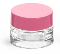 0.25 oz Clear Glass Thick Wall Cosmetic Jars w/ Pink Lined Caps