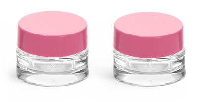 Clear Glass Jars, 0.25 oz Clear Glass Thick Wall Cosmetic Jars w/ Pink F-217 Lined Caps