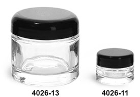 Glass Jars, Clear Glass Thick Wall Cosmetic Jars w/ Black Dome F-217 Lined Caps