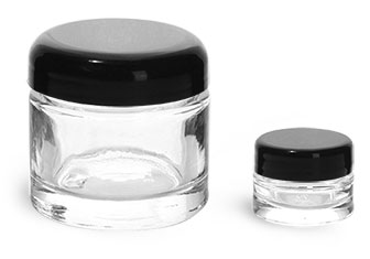 Clear Glass Jars, Clear Glass Cosmetic Jars w/ Black Dome Lined Caps
