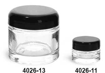 Clear Glass Jars, Clear Glass Thick Wall Cosmetic Jars w/ Black Dome PE Lined Caps