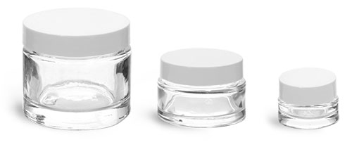 Clear Glass Jars, Clear Glass Cosmetic Jars w/ White Smooth Lined Caps