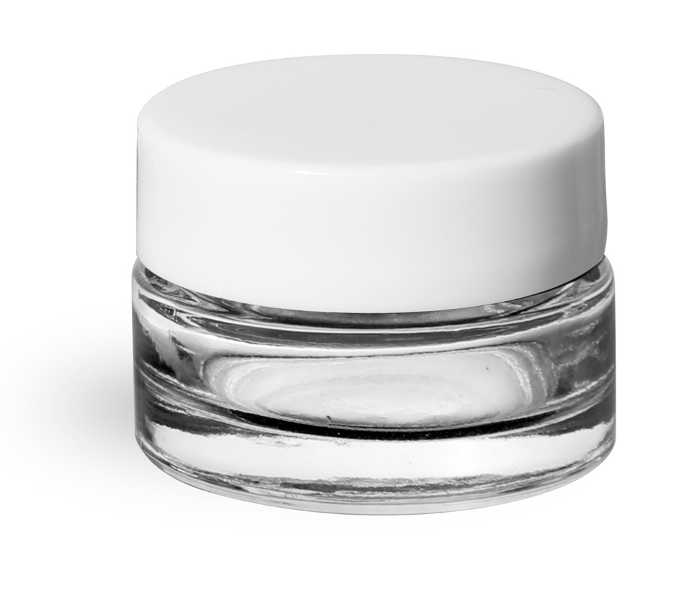 0.25 oz Clear Glass Thick Wall Cosmetic Jars w/ White Smooth Lined Caps