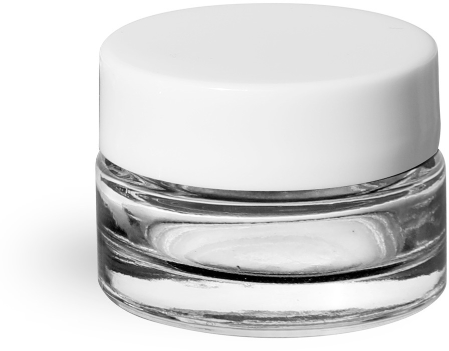 Clear Glass Thick Wall Cosmetic Jars w/ White Smooth Lined Caps