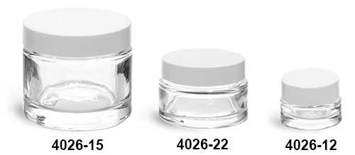 Clear Glass Jars, Clear Glass Thick Wall Cosmetic Jars w/ White F-217 Lined Caps