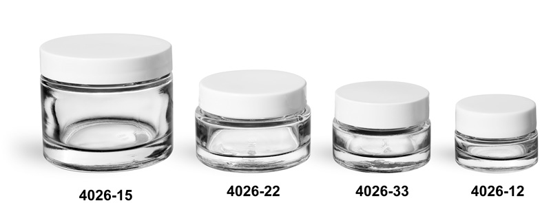 Clear Glass Jars, Clear Glass Thick Wall Cosmetic Jars w/ White PE Lined Caps