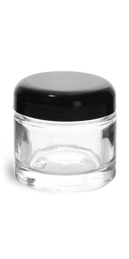 2.3 oz Clear Glass Jars, Clear Glass Thick Wall Cosmetic Jars w/ Black Dome PE Lined Caps