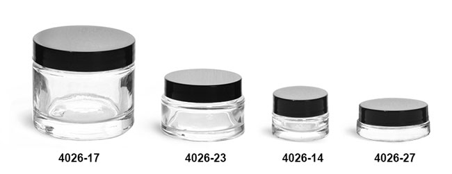 Clear Glass Jars, Clear Glass Thick Wall Cosmetic Jars w/ Black F-217 Lined Caps