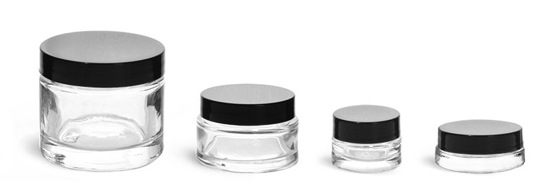 Clear Glass Jars, Clear Glass Cosmetic Jars w/ Black Smooth Lined Caps