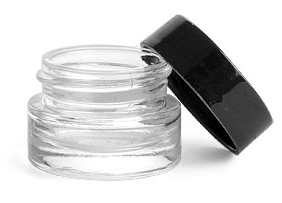 0.25 oz Clear Glass Thick Wall Cosmetic Jars w/ Black Smooth Lined Caps