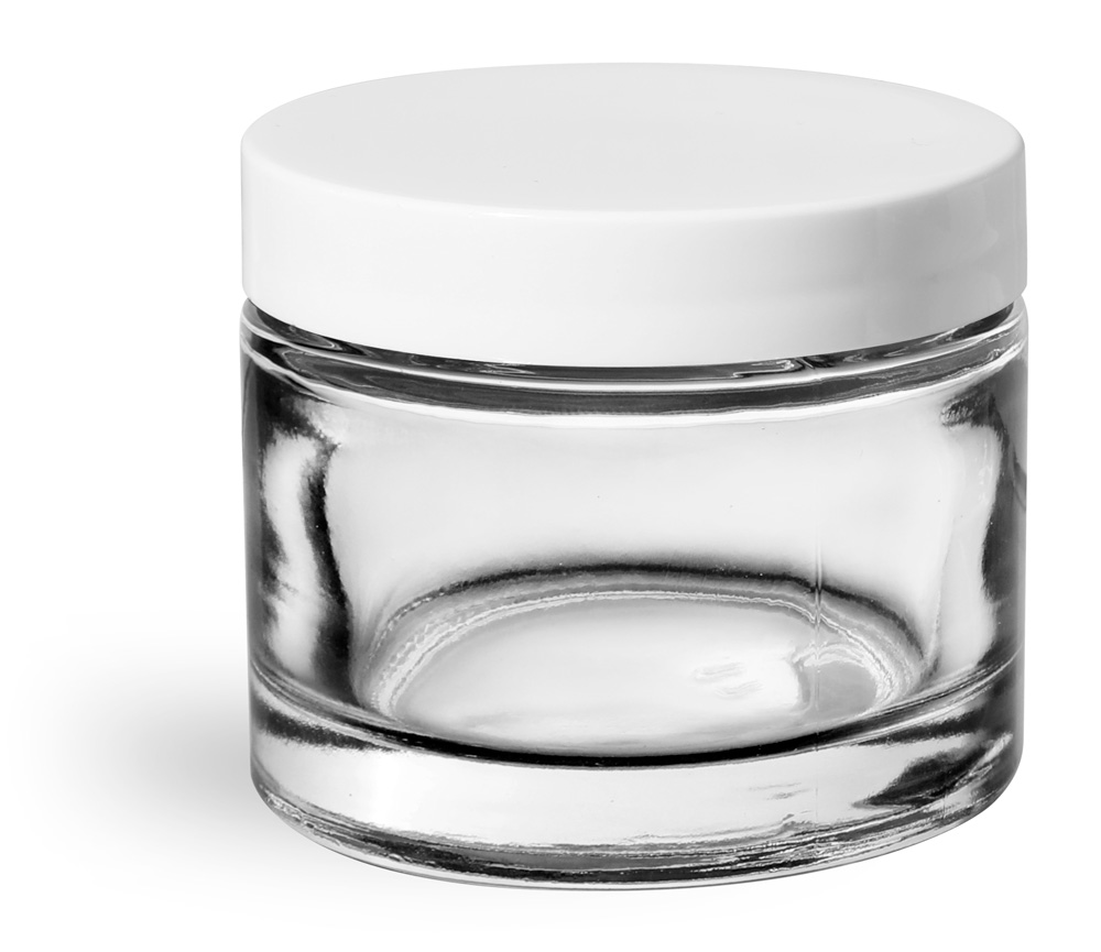 2.3 oz Clear Glass Thick Wall Cosmetic Jars w/ White Smooth Lined Caps