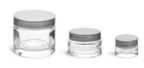 Clear Glass Jars, Clear Glass Cosmetic Jars w/ Silver PE Lined Caps