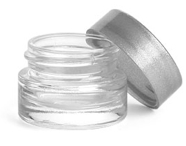 0.25 oz Clear Glass Thick Wall Cosmetic Jars w/ Silver PE Lined Caps