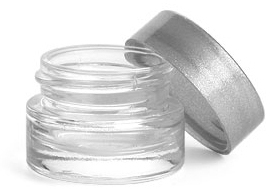 Clear Glass Thick Wall Cosmetic Jars w/ Silver PE Lined Caps