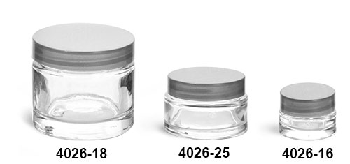 Clear Glass Jars, Clear Glass Thick Wall Cosmetic Jars w/ Silver F-217 Lined Caps