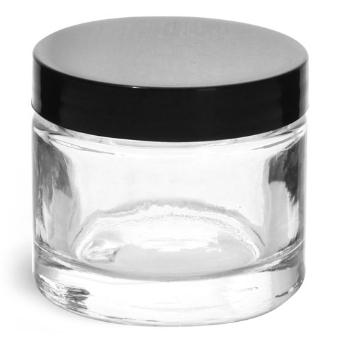 2.3 oz Clear Glass Thick Wall Cosmetic Jars w/ Black Smooth Lined Caps