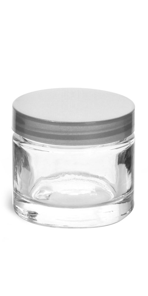 2.3 oz Clear Glass Thick Wall Cosmetic Jars w/ Silver PE Lined Caps