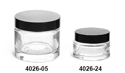 Clear Glass Jars, Clear Glass Thick Wall Cosmetic Jars w/ Black Phenolic PV Lined Caps