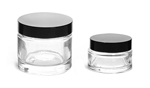 Clear Glass Thick Wall Cosmetic Jars w/ Black Phenolic PV Lined Caps