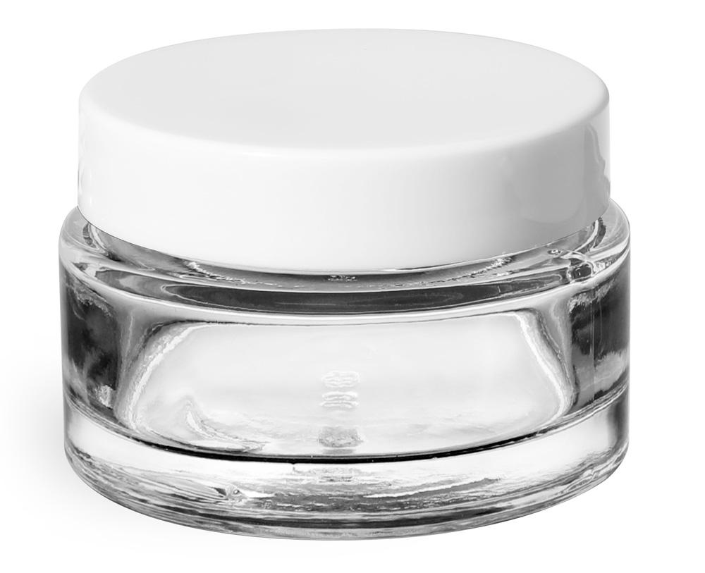 Clear Glass Cosmetic Jars w/ White PE Foam Lined Caps