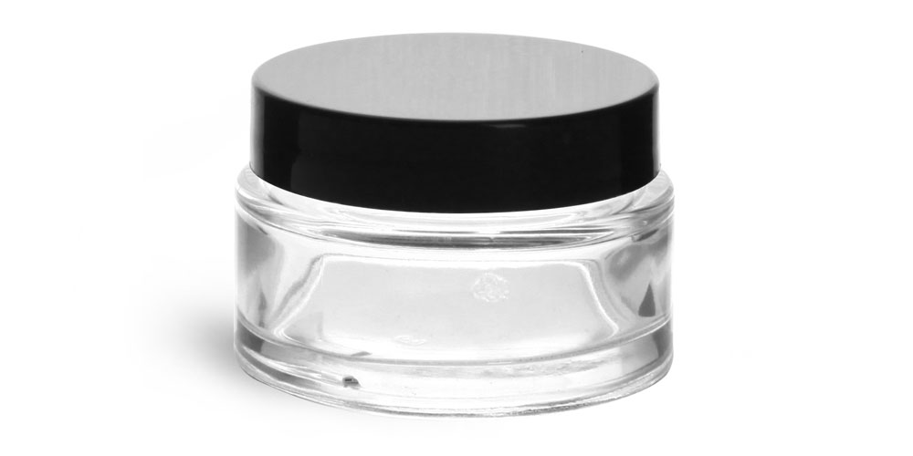 1 oz Clear Glass Cosmetic Jar with Black Smooth Lined Caps
