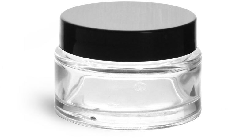 Clear Glass Cosmetic Jar with Black Smooth Lined Caps