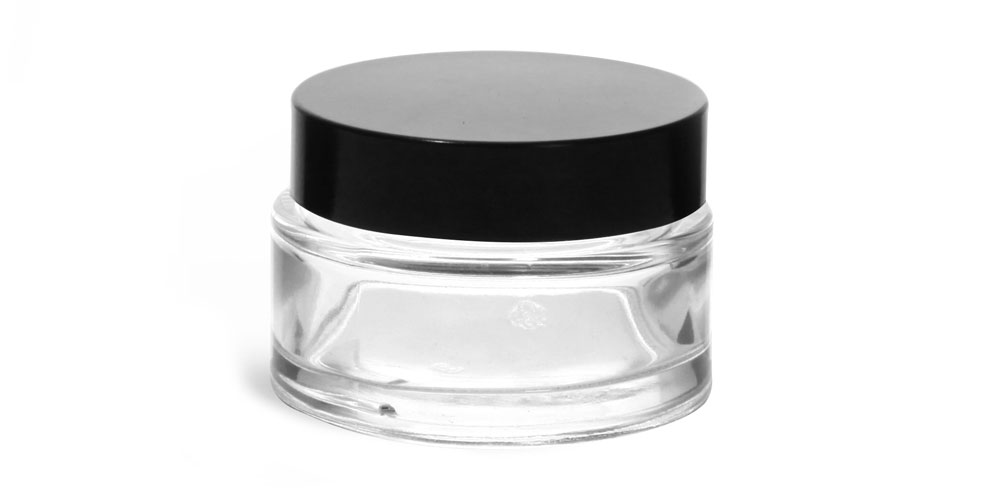 1 oz Clear Glass Cosmetic Jars with Black Phenolic PV Lined Caps