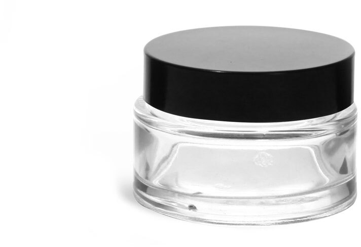Clear Glass Cosmetic Jars with Black Phenolic PV Lined Caps