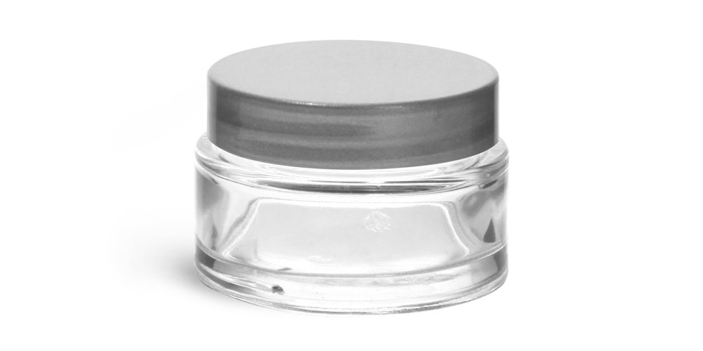 1 oz Clear Glass Cosmetic Jars with Silver PE Lined Caps
