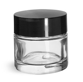 Clear Glass Jars, Clear Glass Cosmetic Jars w/ Black Phenolic Deep Skirted F217 Lined Caps