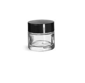Glass Jars, Clear Glass Thick Wall Jars w/ Black Phenolic Deep Skirted F-217 Lined Caps