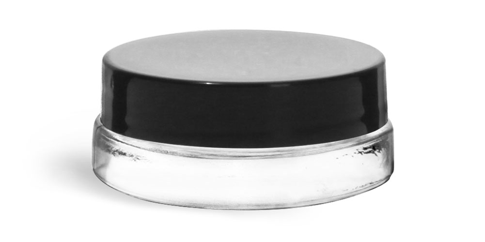 0.15 oz Clear Glass Thick Wall Cosmetic Jars w/ Black Smooth Lined Caps