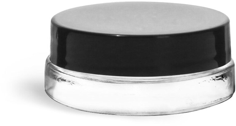 Clear Glass Thick Wall Cosmetic Jars w/ Black Smooth Lined Caps