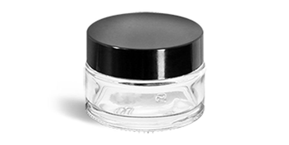 0.5 oz Clear Glass Thick Wall Cosmetic Jars w/ Black Phenolic F217 Lined Caps
