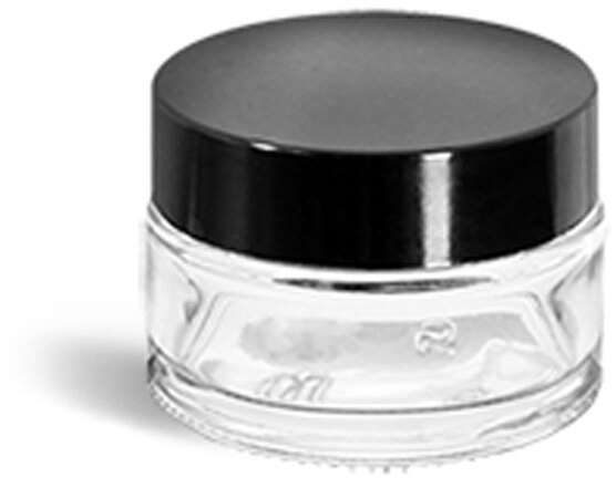Clear Glass Thick Wall Cosmetic Jars w/ Black Phenolic F217 Lined Caps