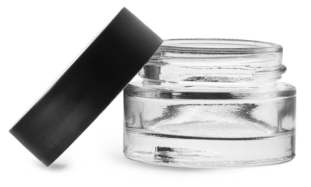0.5 oz Clear Glass Thick Wall Cosmetic Jars w/ Matte Black PE-F217 Lined Caps