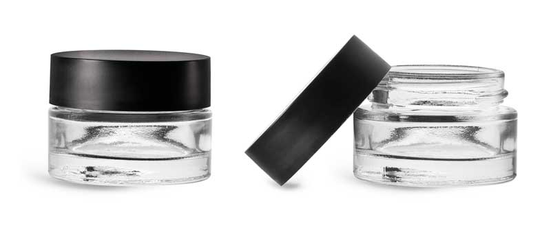 Clear Glass Jars, Clear Glass Thick Wall Cosmetic Jars w/ Matte Black PE-F217 Lined Caps