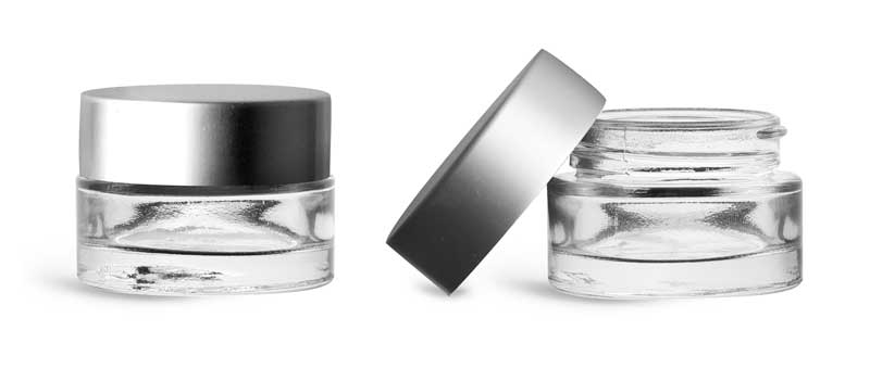 Clear Glass Thick Wall Cosmetic Jars w/ Matte Silver PE-F217 Lined Caps