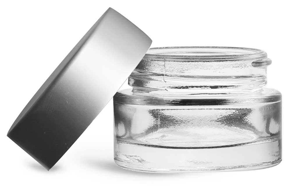 0.5 oz Clear Glass Thick Wall Cosmetic Jars w/ Matte Silver PE-F217 Lined Caps