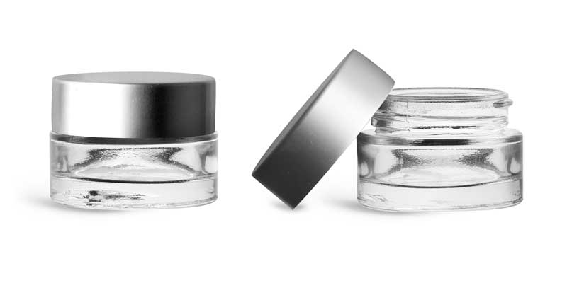 Clear Glass Jars, Clear Glass Thick Wall Cosmetic Jars w/ Matte Silver PE-F217 Lined Caps