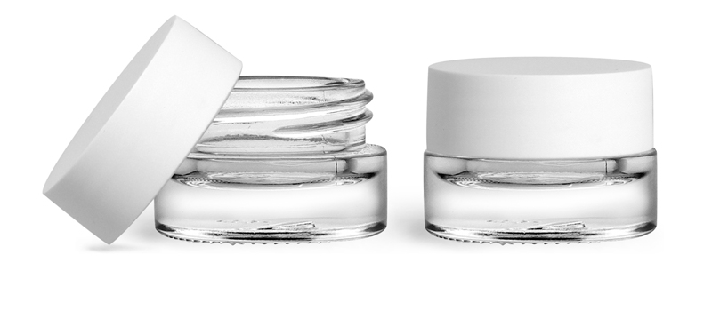 Clear Glass Jars, 5 ml Glass Thick Wall Cosmetic Jars w/ Matte White F217 Lined Caps