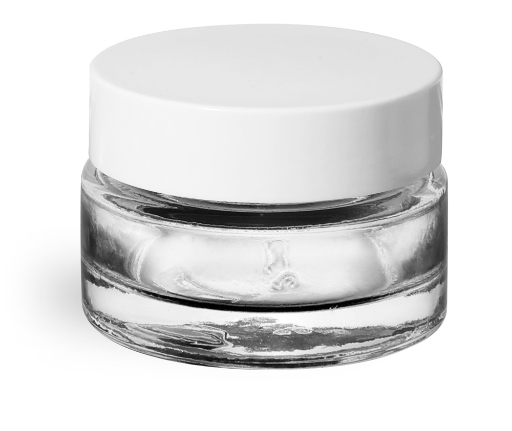 0.5 oz Clear Glass Jars, Clear Glass Thick Wall Cosmetic Jars w/ White PE Lined Caps
