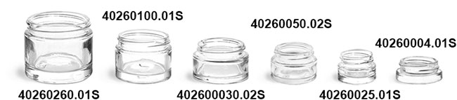 Glass Jars, Clear Glass Thick Wall Cosmetic Jars