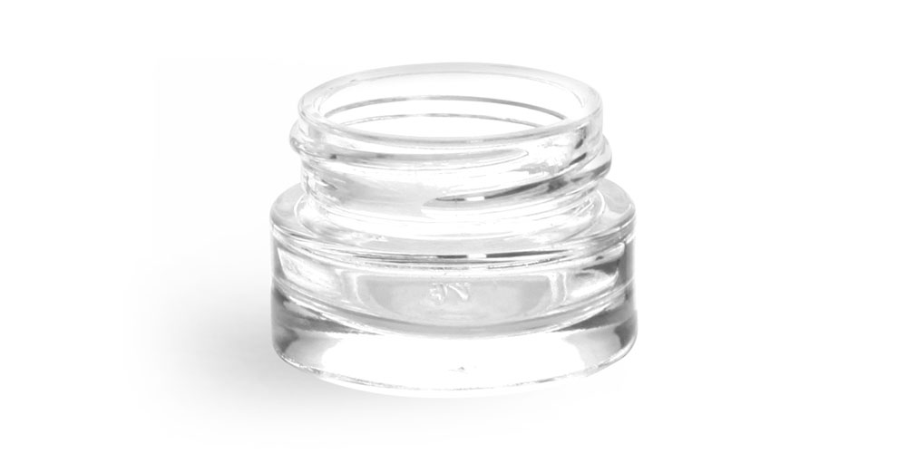 0.25 oz Clear Glass Thick Wall Cosmetic Jars (Bulk) Caps NOT Included
