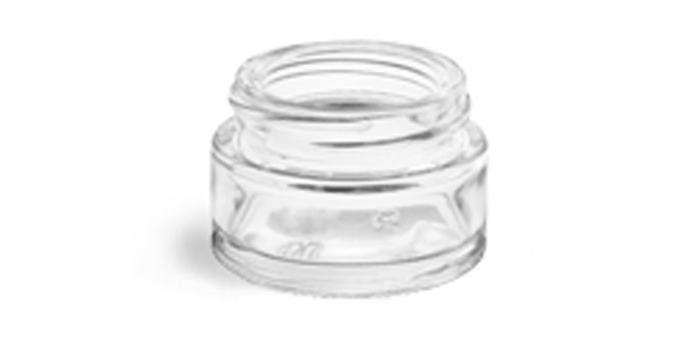 0.5 oz Clear Glass Thick Wall Cosmetic Jars (Bulk), Caps NOT Included