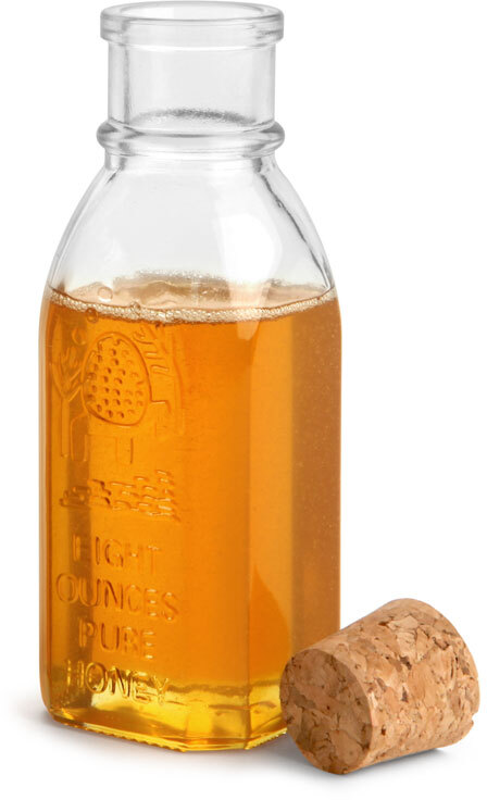 Clear Glass Muth Style Honey Bottles w/ Cork Stoppers