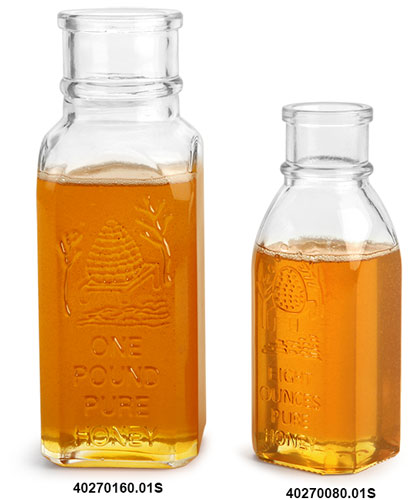 Glass Bottles, Clear Glass Muth Style Honey Bottles, (Bulk) Corks NOT Included